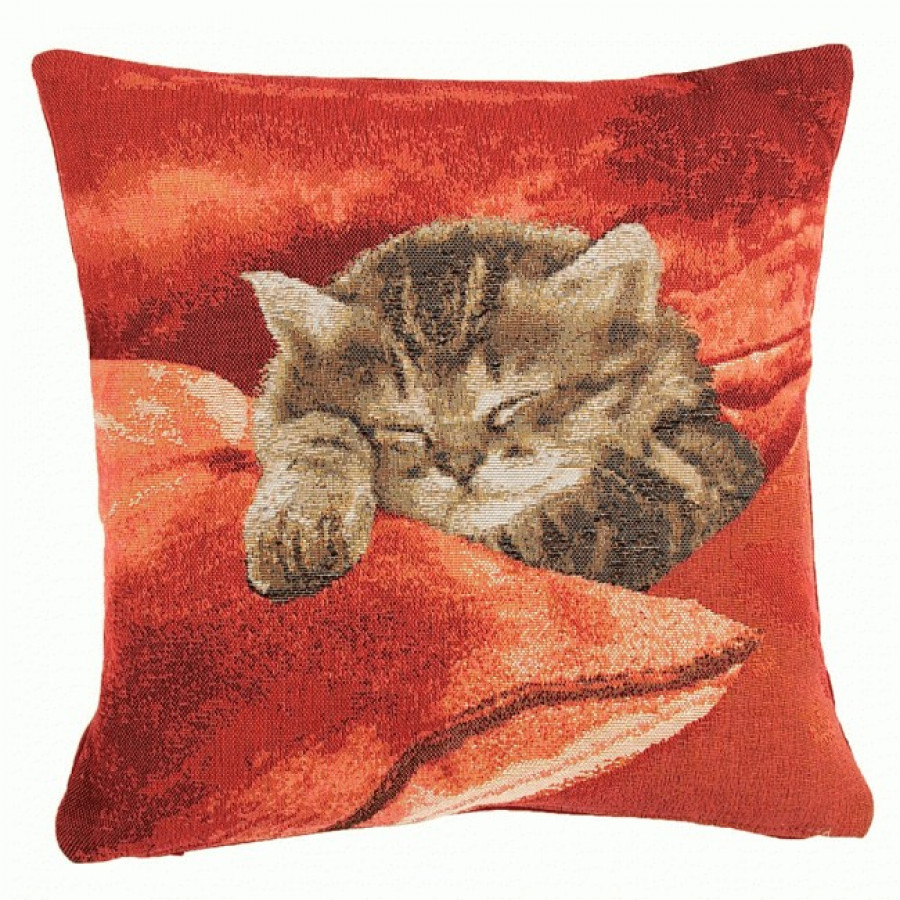 8698R : Sleeping Cat,red background