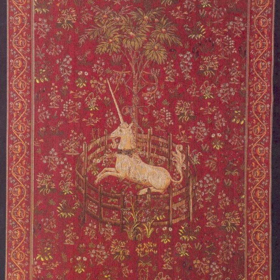 Tapisserie Licorne captive rouge