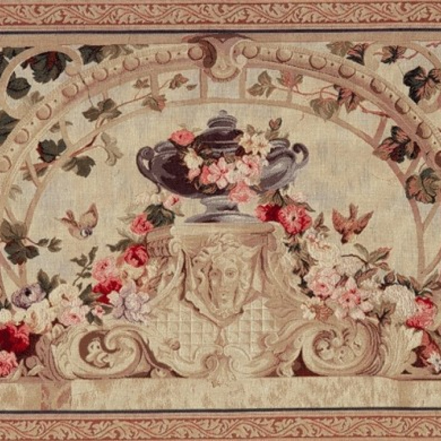 Tapestry Beauvais feuilles vertes