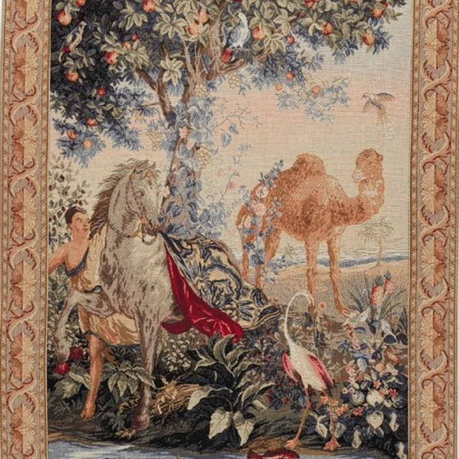 Tapestry draped horse