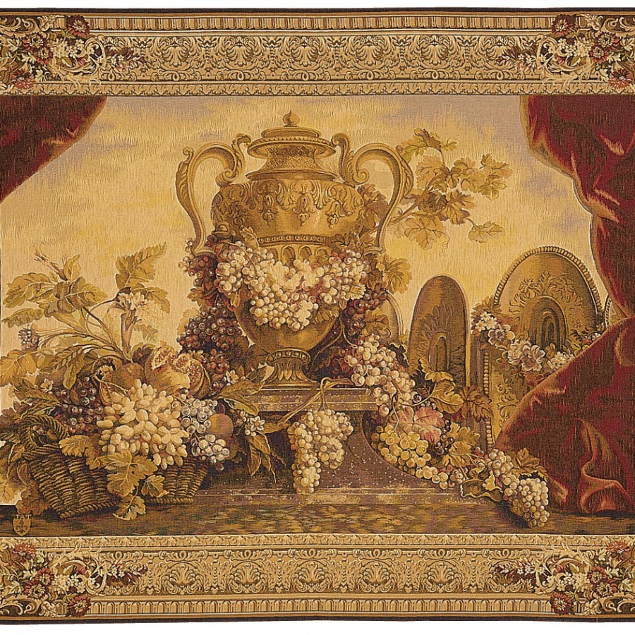 Tapestry Vase and grapes