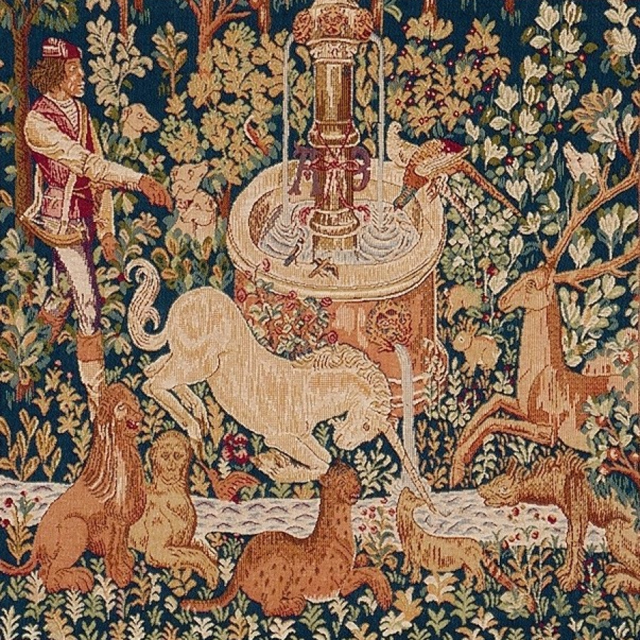 Tapestry Unicorn at the fountain