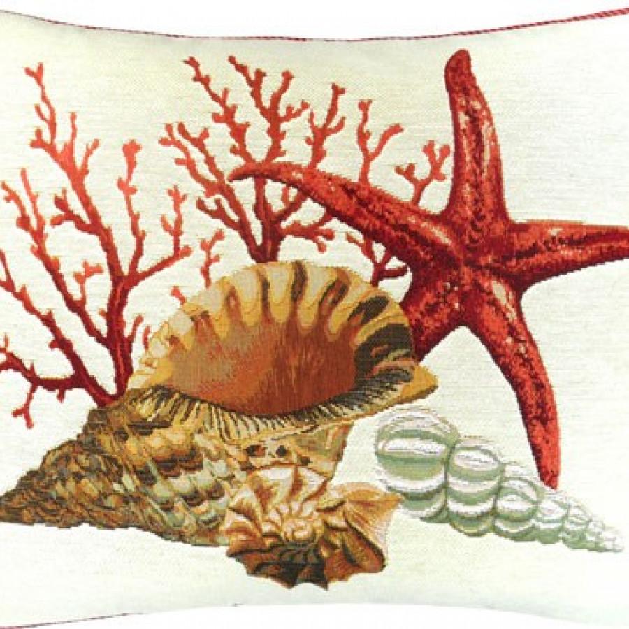 Housse de coussin corail et étoile de mer