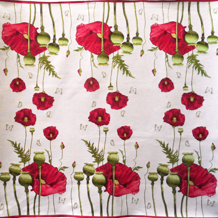 5201B : Plaid Poppies, white background