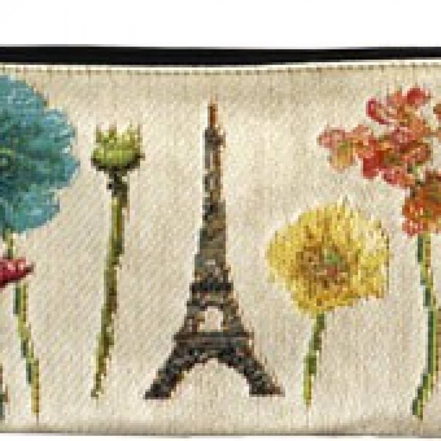 Cosmetic bag Eiffel tower and bright flowers