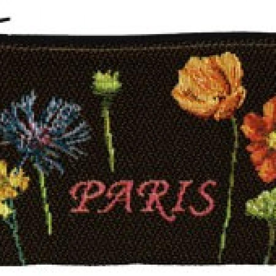 5597N : Tour Eiffel et fleurs vives, fond noir
