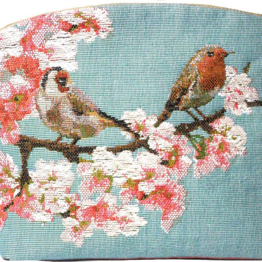 2023B : Passerines on branch, blue background