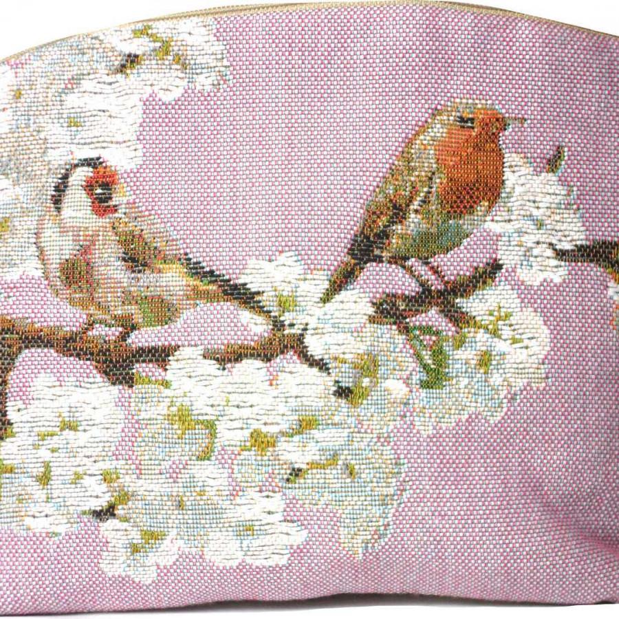 2023R : Passerines on branch, pink background