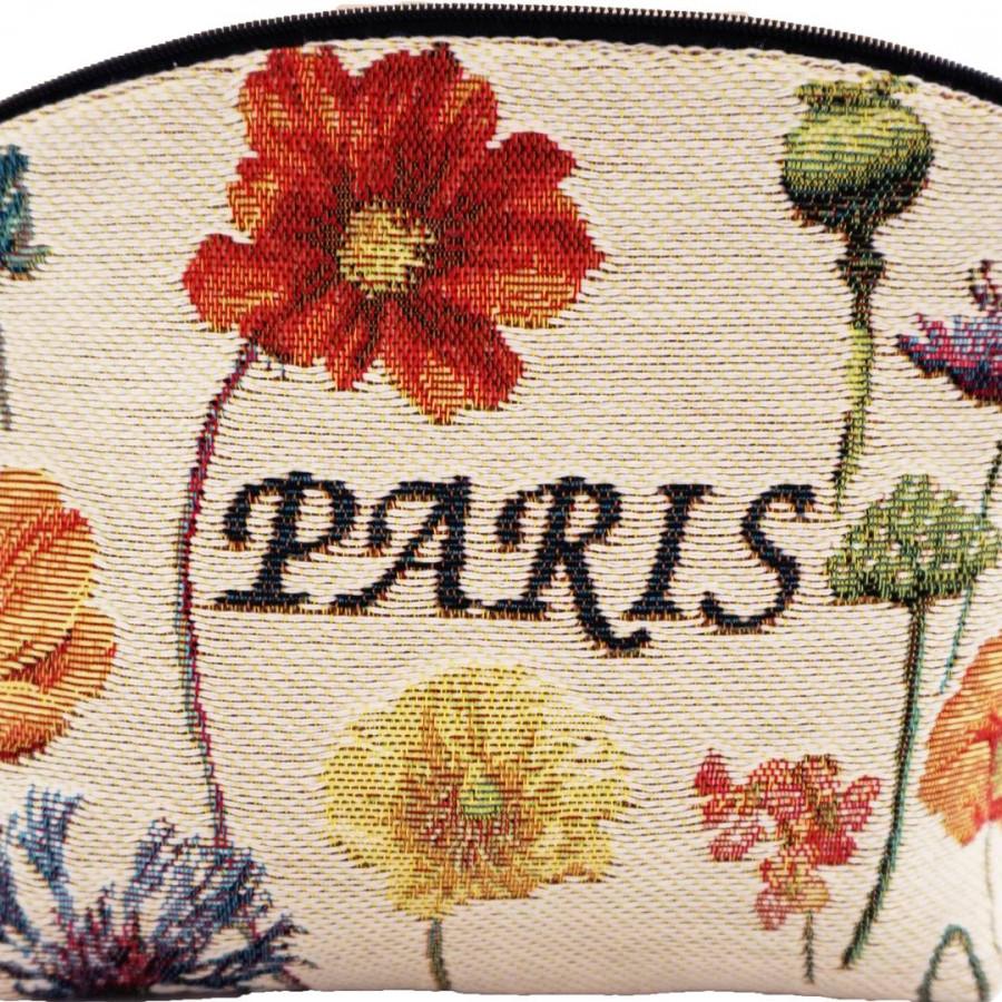 5597B : Tour Eiffel et fleurs vives, fond blanc