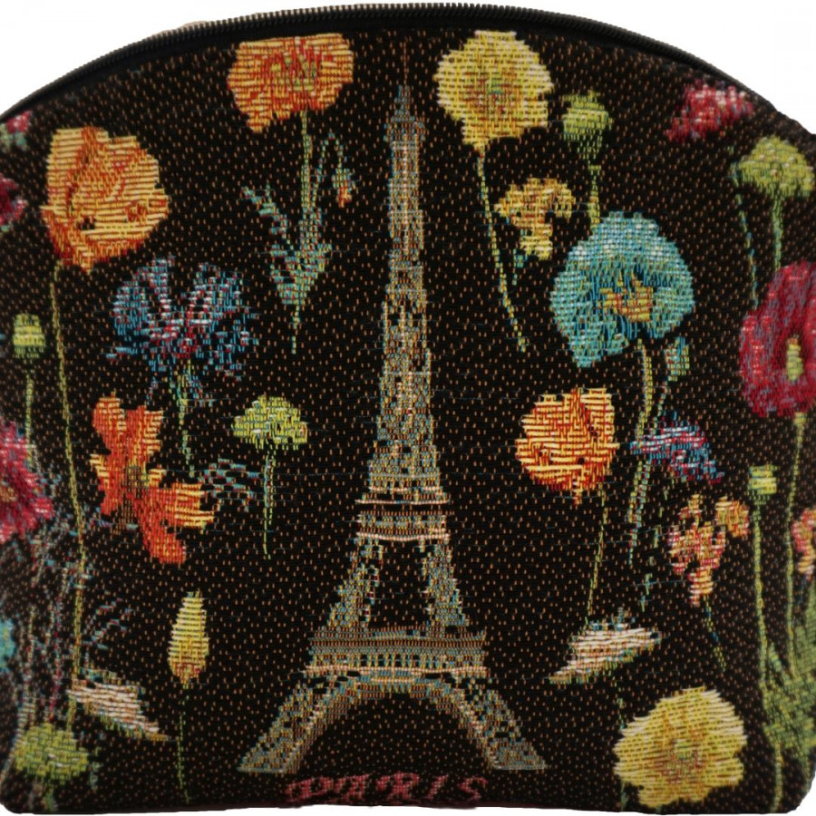 5597N : Eiffel tower and bright flowers, black background