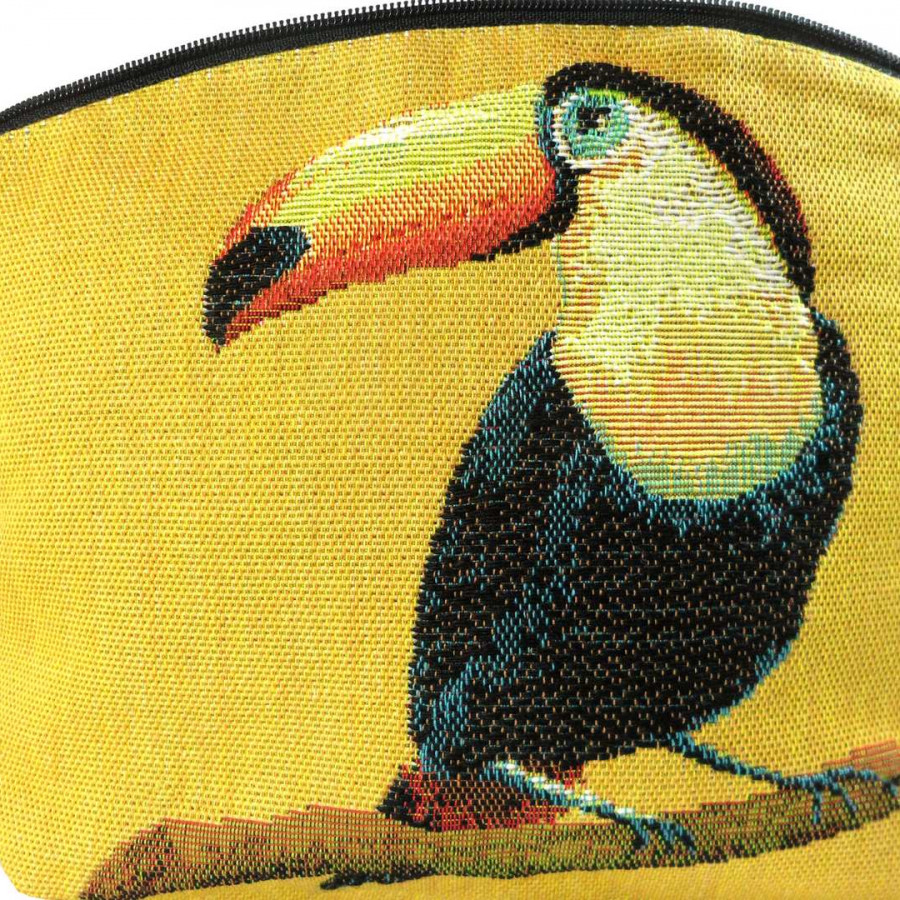 5520J : Toucans cosmetic bag, yellow background