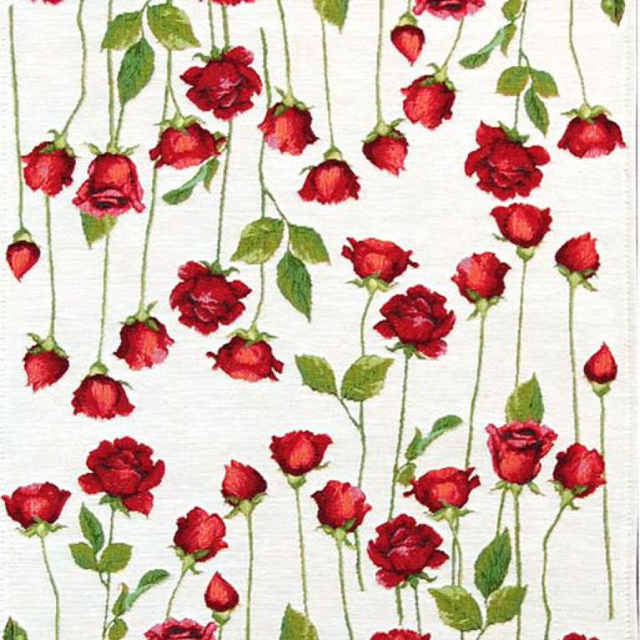 5426B : Chemin de roses rouge, fond blanc