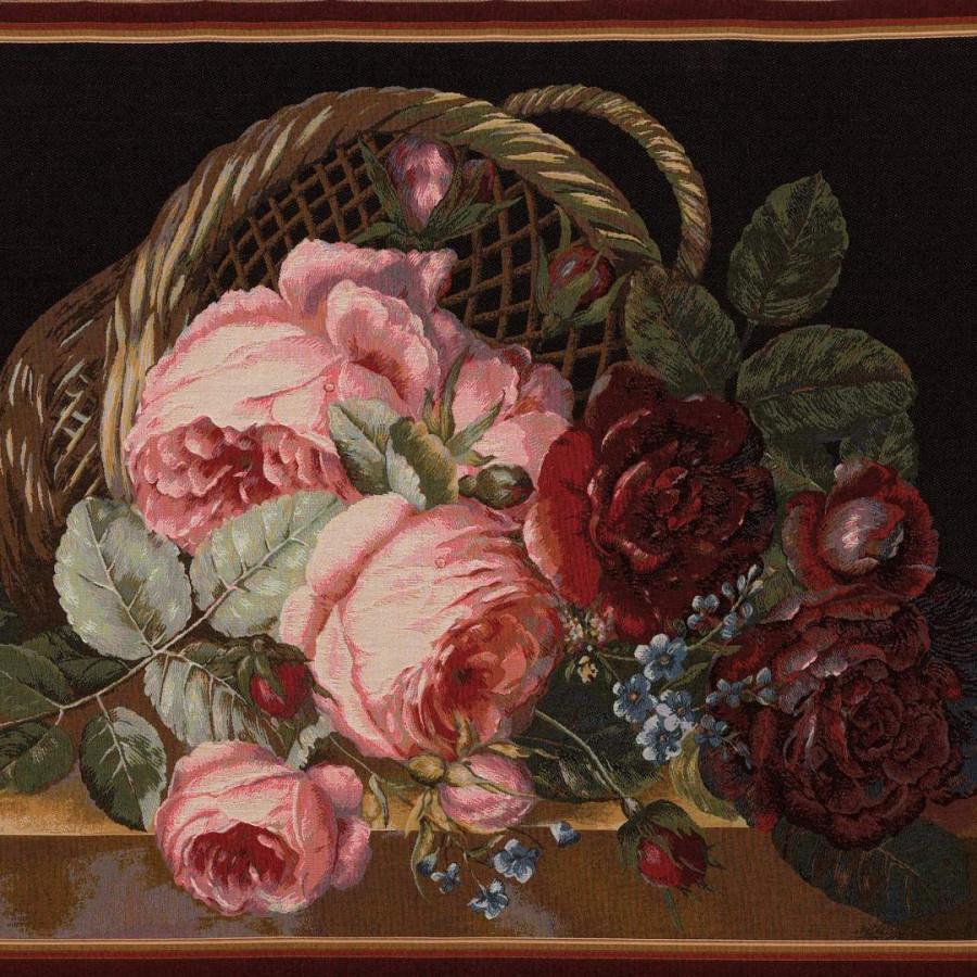 Tapisserie bouquets rose fond foncé