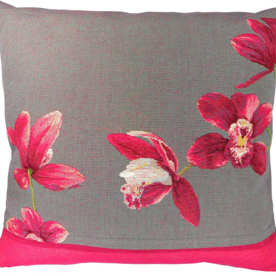 5296G : Fuschia orchids, grey background