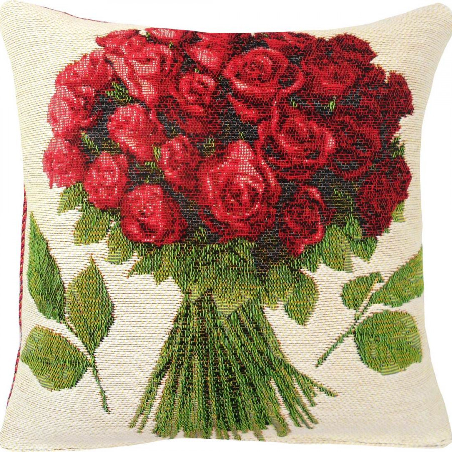 5422B : Bouquet of red roses, white background