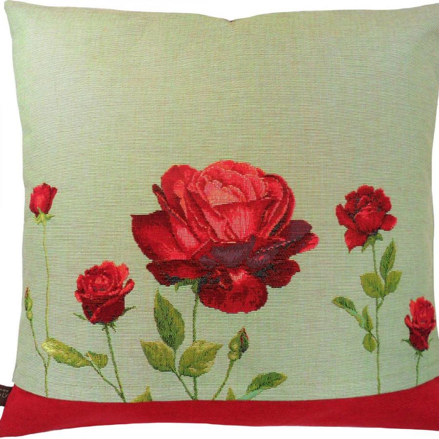 5422V : Bouquet de rose rouges, fond vert