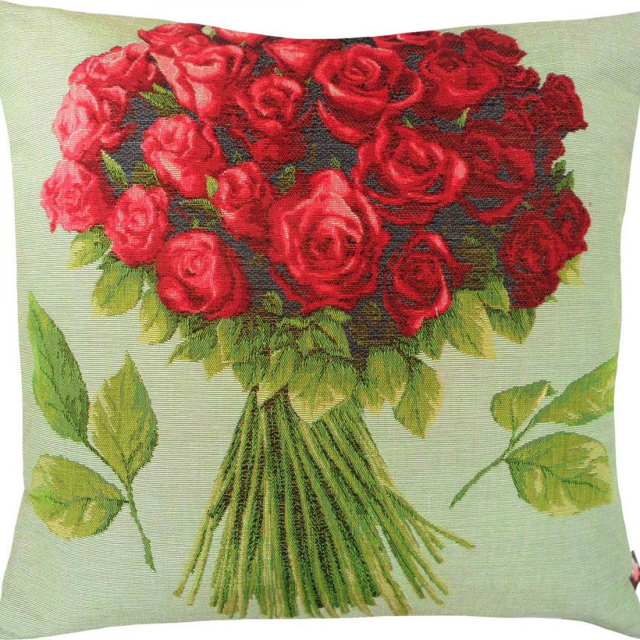 5422V : Bouquet of red roses, green background