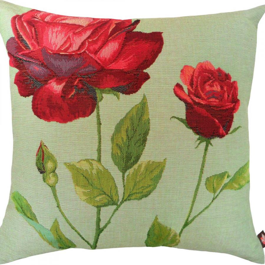 5421V : 2 roses rouges, fond vert