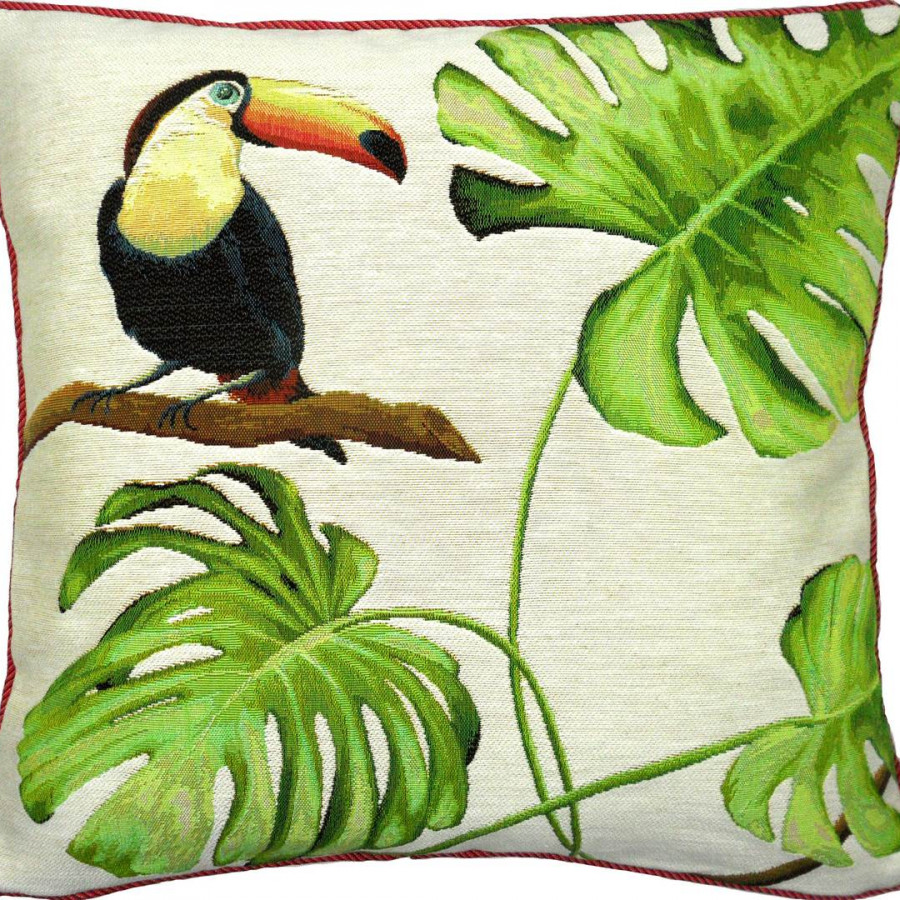 5516B : Toucan bec orange, jungle fond blanc