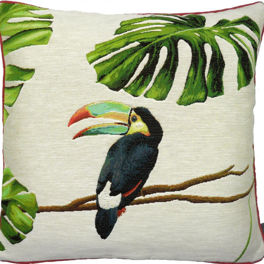 5517B  : Toucan bec bleu, jungle fond blanc