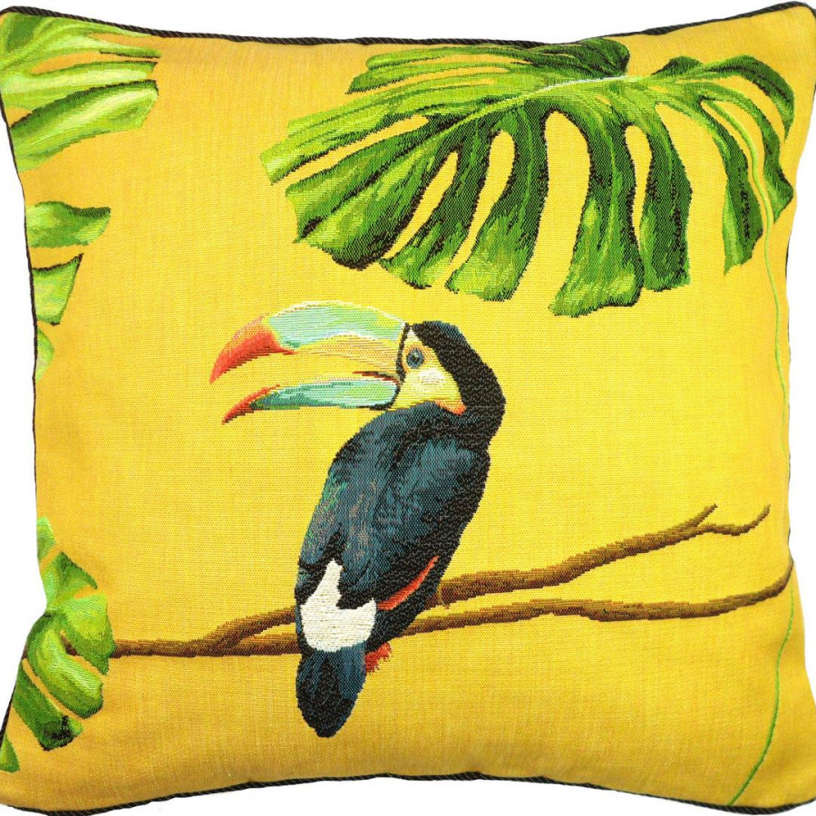 5517J : Toucan with blue beak, jungle yellow backgroung