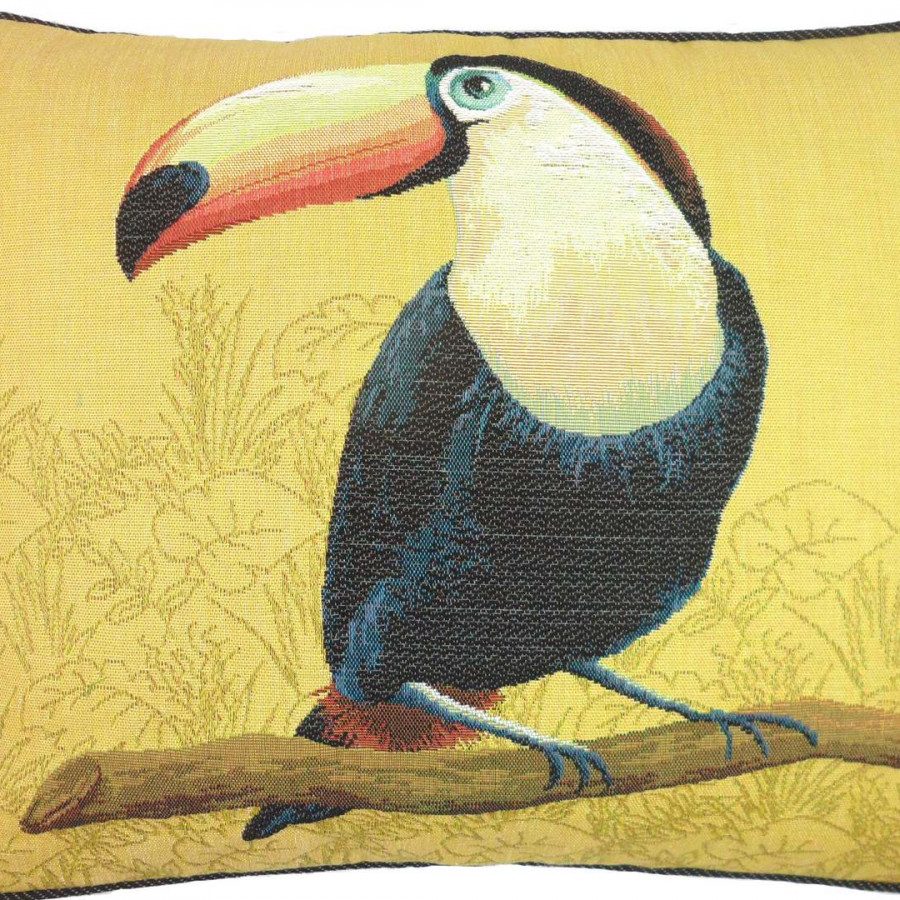 5518J : Toucan bec orange,fond jaune