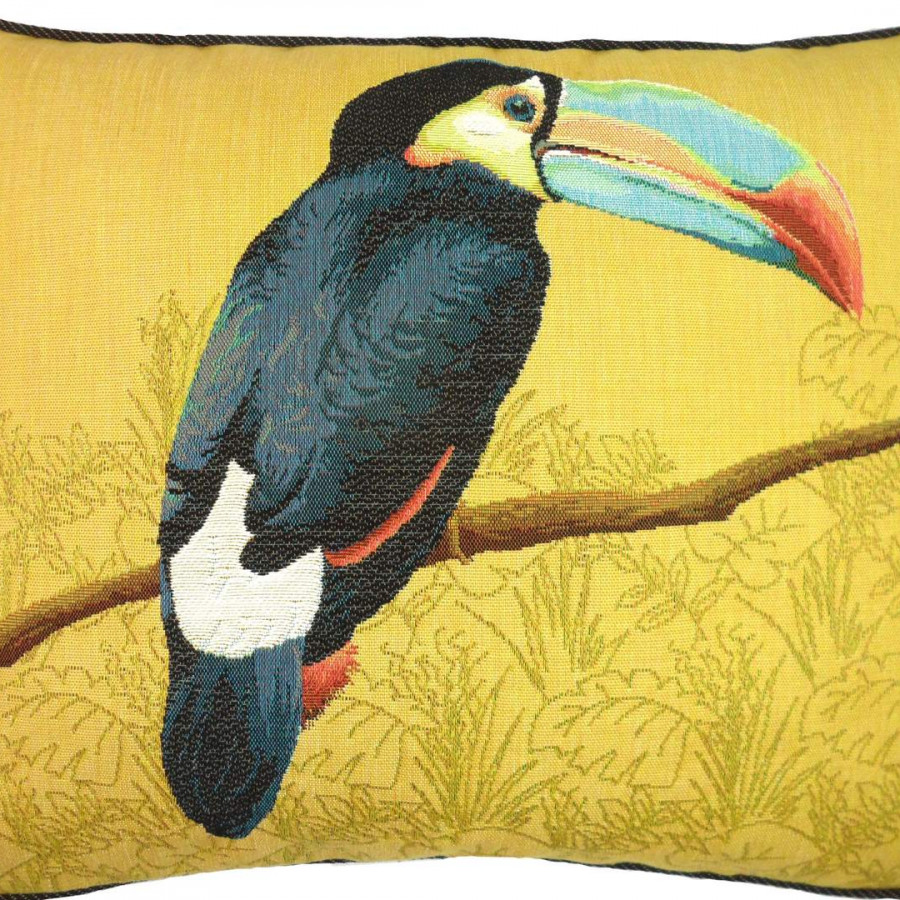 5519J : Toucan with blue beak, yellow background
