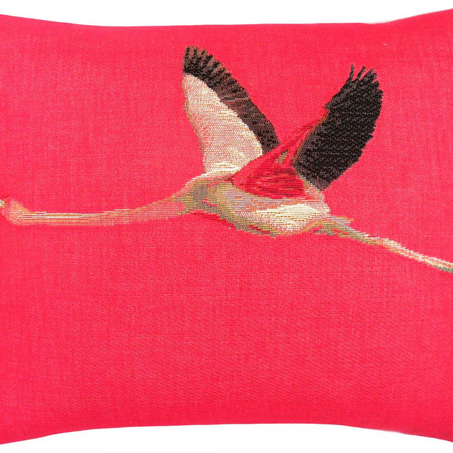 5493E : Flamant rose en vol, fond rose