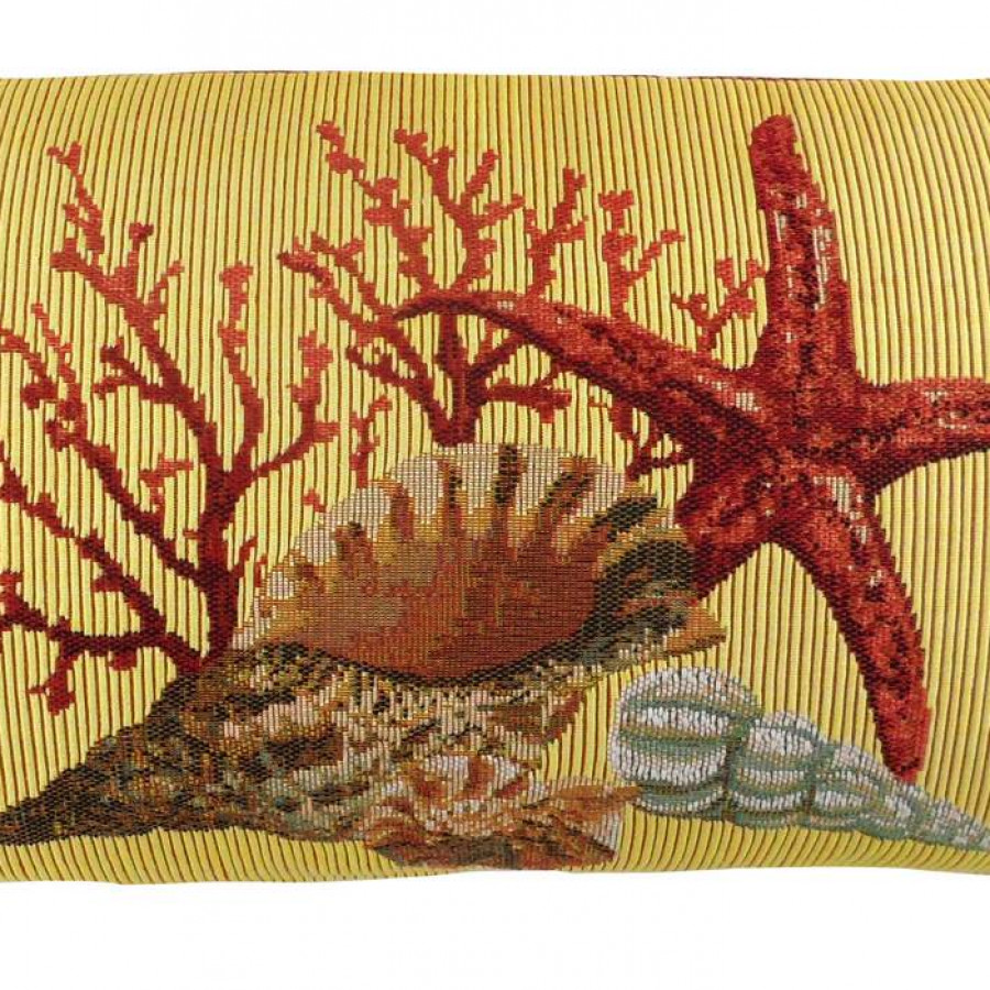 5444J : Corals and seashells, yellow background