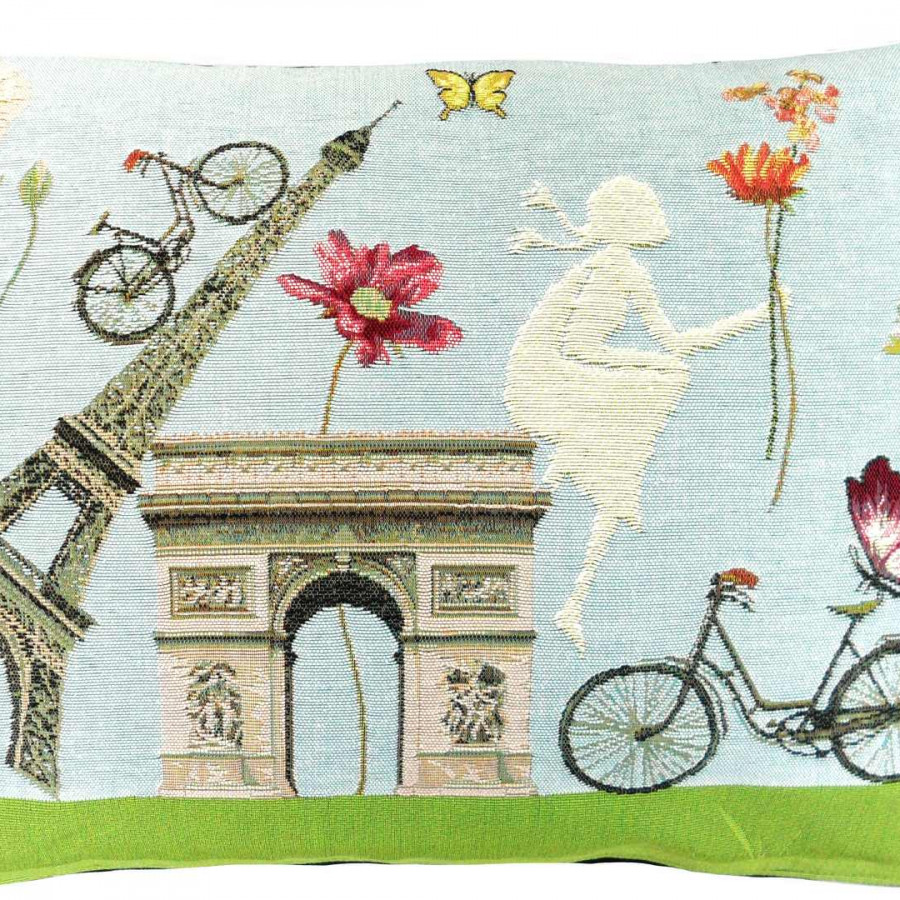 5282R : Flowery, Paris, Monuments, pink background