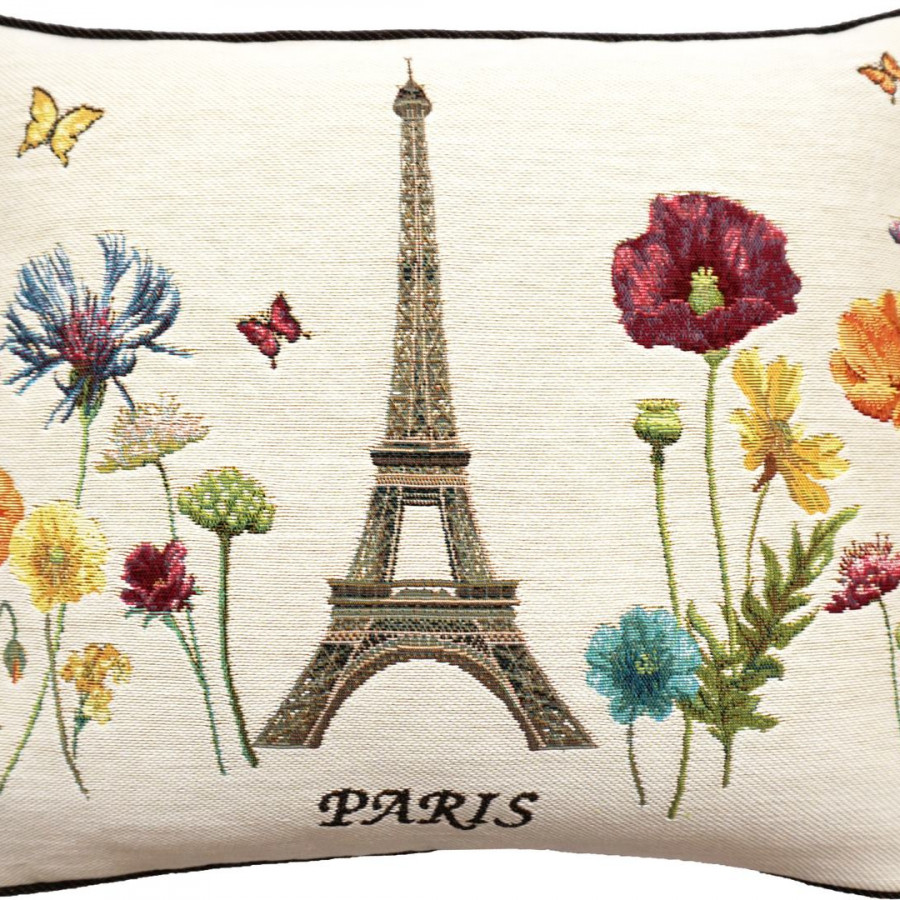 5592B : Ligne of Eiffel tower and bright flowers, white background