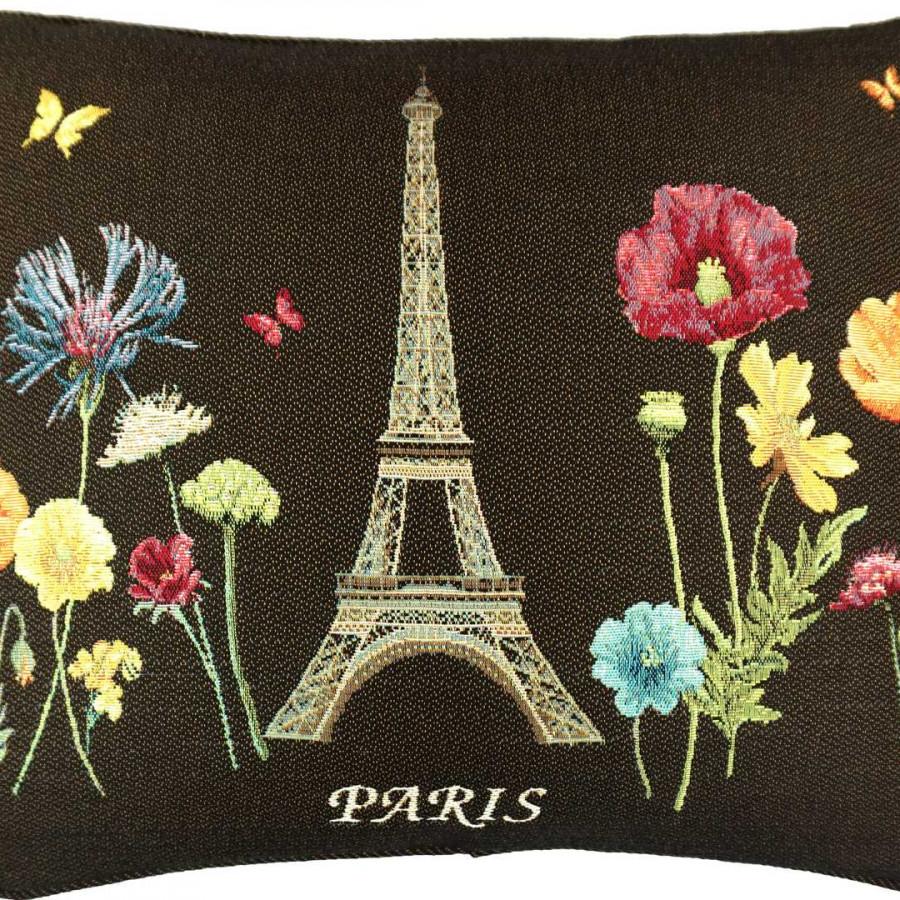 5592N : Ligne de Tour Eiffel et fleurs vives, fond noir