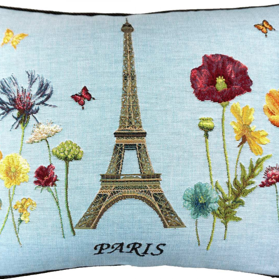 5592T : Ligne of Eiffel tower and bright flowers, blue background