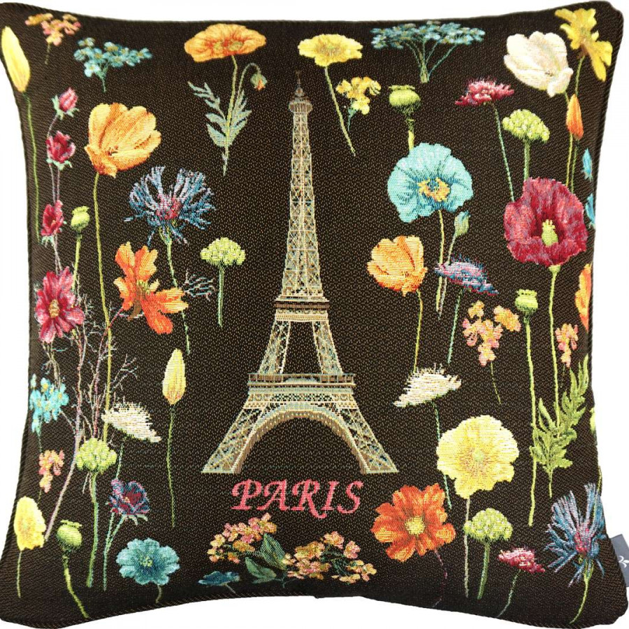 5593N : Eiffel tower and bright flowers, black background