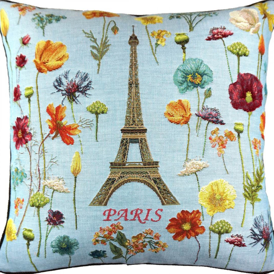 5593T : Eiffel tower and bright flowers, blue background