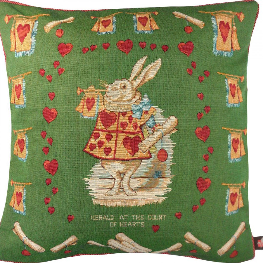 8715V : Heart rabbit, Alice in Wonderland green background