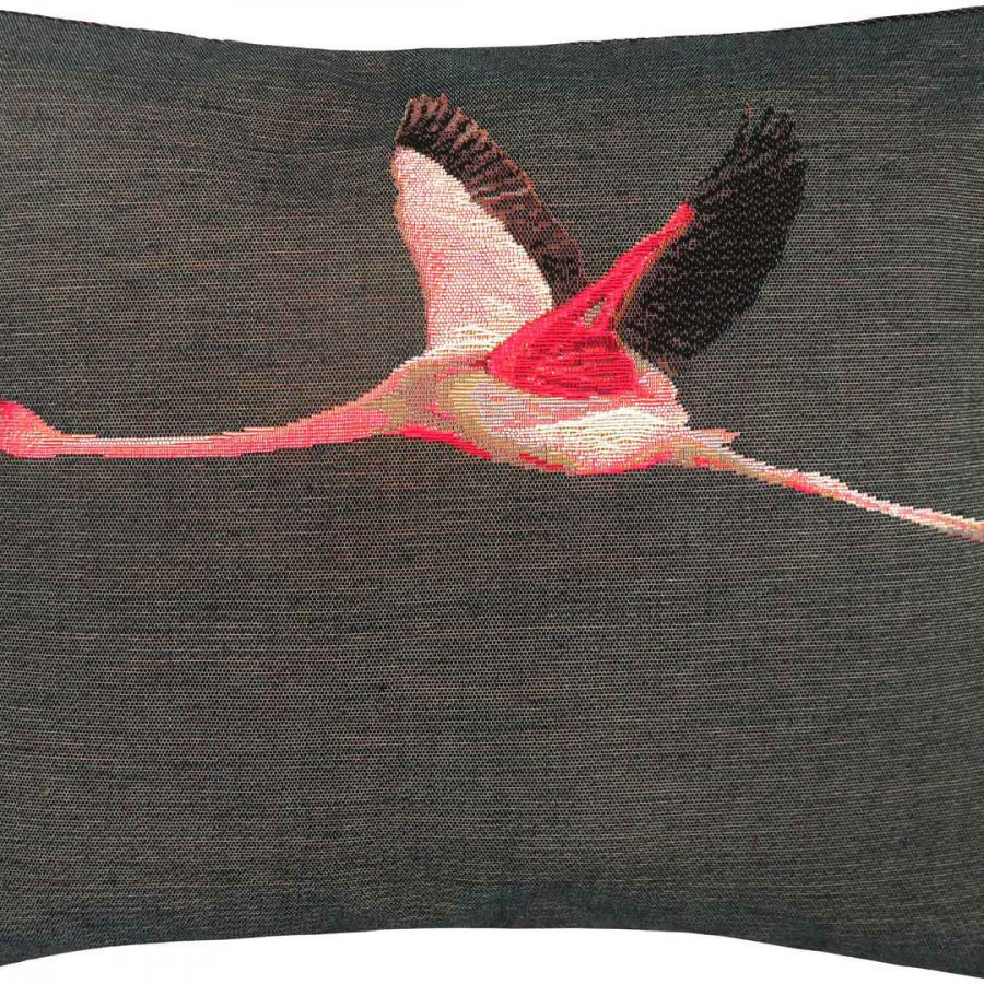 5493G : Flying pink flamingo, grey background