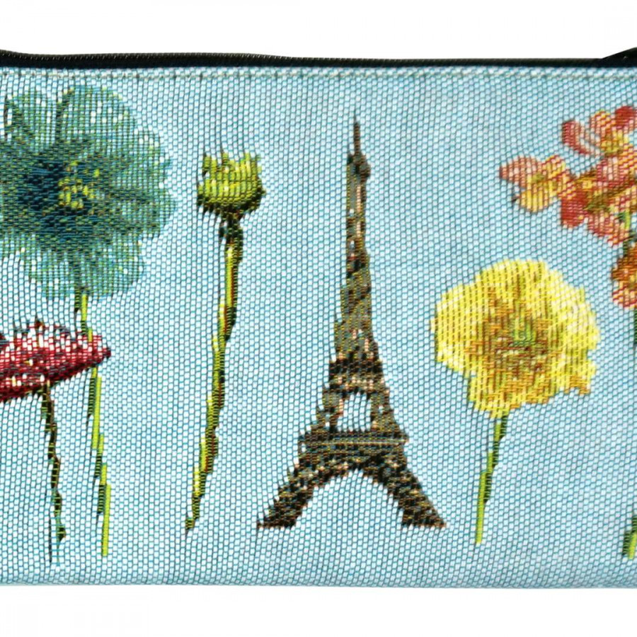 5597T : Eiffel tower and bright flowers, blue background