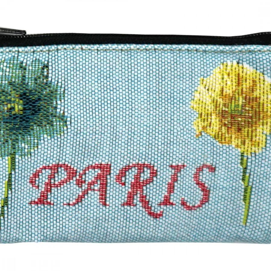 5597T : Tour Eiffel et fleurs vives, fond bleu