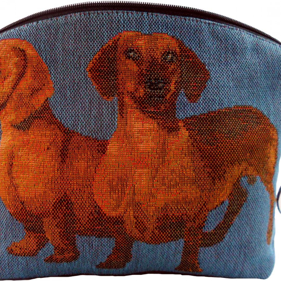 2121T : Dachshunds, blue background