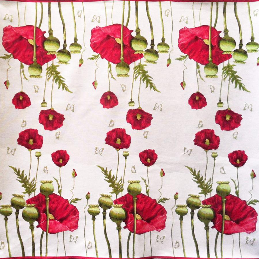 5201B : Plaid Poppies, white background