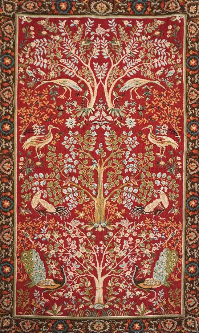 8690r arbre fond rouge tapisseries art de lys. Black Bedroom Furniture Sets. Home Design Ideas