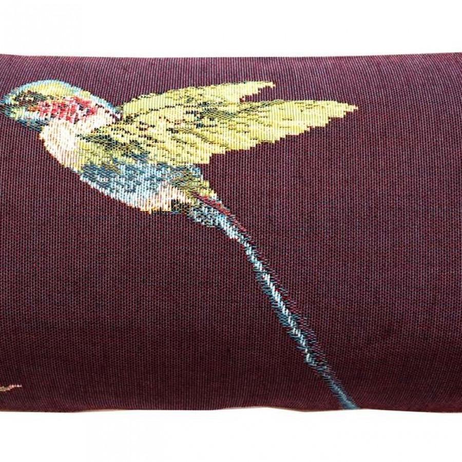 Housse de coussin eucalyptus et colibri