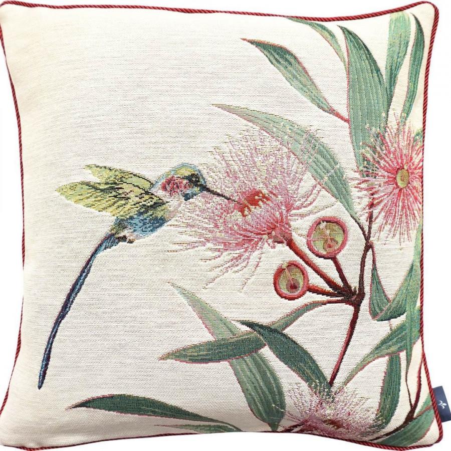 Cushion cover Eucalyptus and green hummingbird