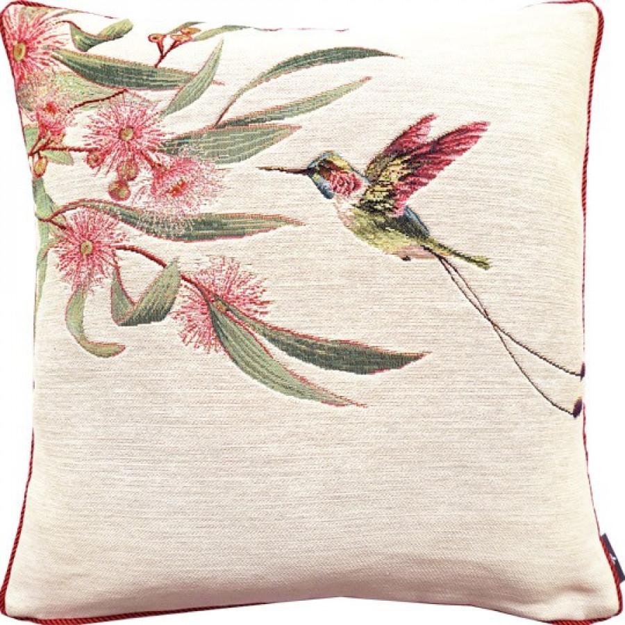 Cushion cover Eucalyptus and pink hummingbird