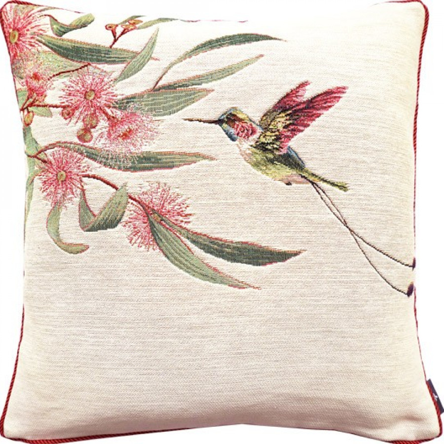 Housse de coussin eucalyptus et colibri rose