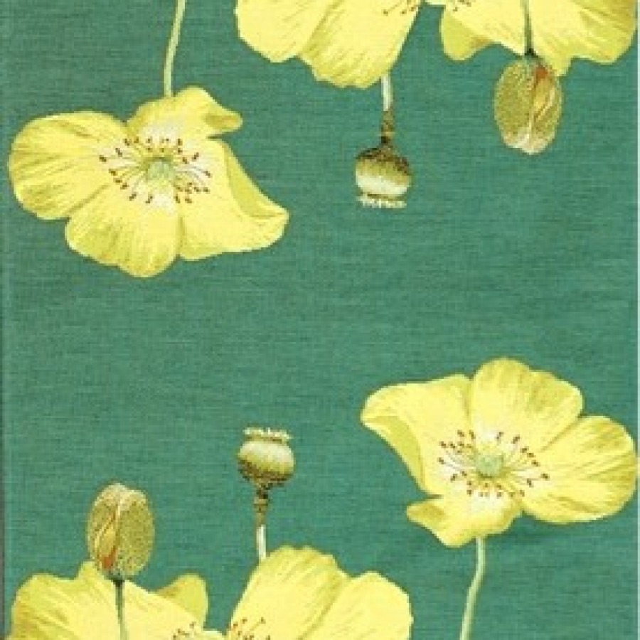 5667V : Yellow poppies, green background