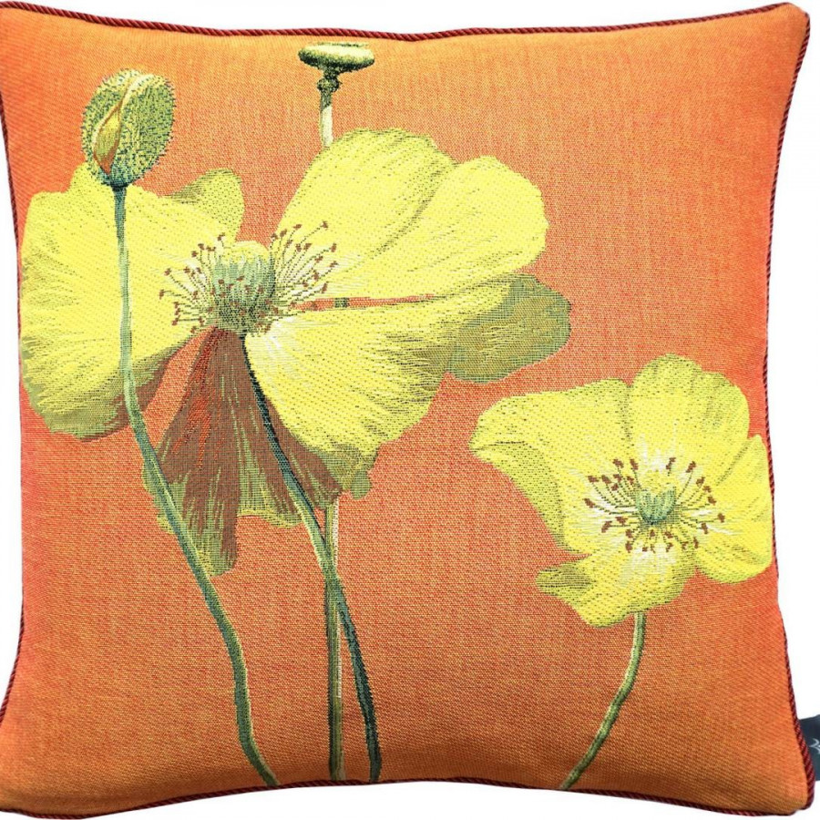 Cushion cover Two yellow poppies