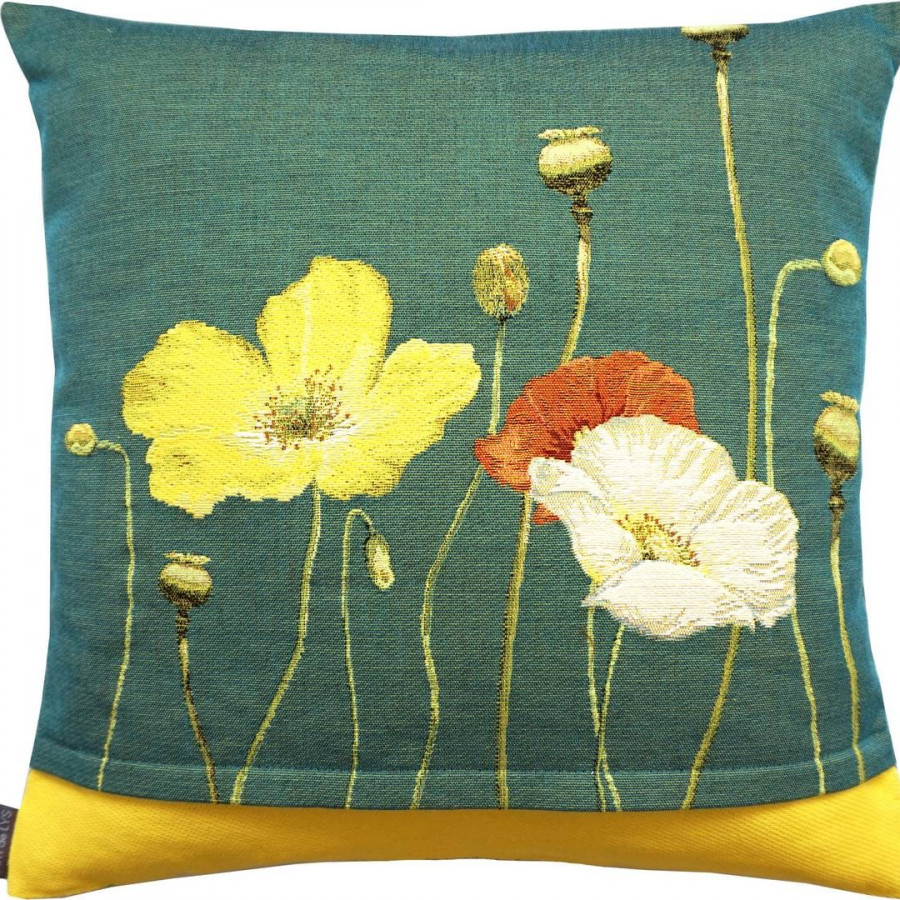 5662V : Two yellow poppies, green background