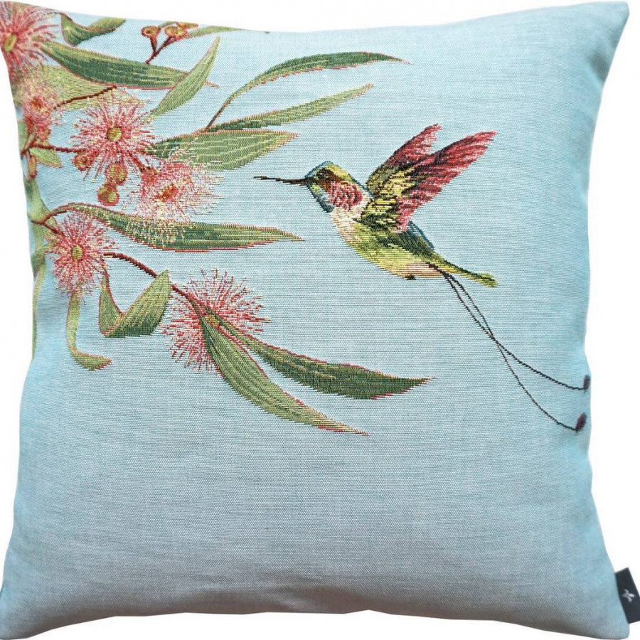 5673T : Eucalyptus and pink hummingbird, blue background